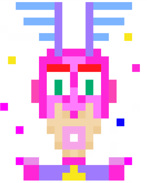 Pixelated Superhero by Joe Chiappetta was drawn into a portion of the pixEOS Paint online community canvas.