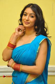 Telugu Actress Vaibhavi Stills in Blue Saree at Www.Meena Bazaar Movie Opening  0033.JPG