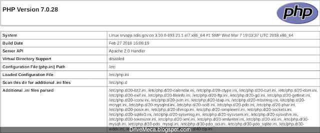 Verificamos version de php entre otros datos en nuestro Centos 7