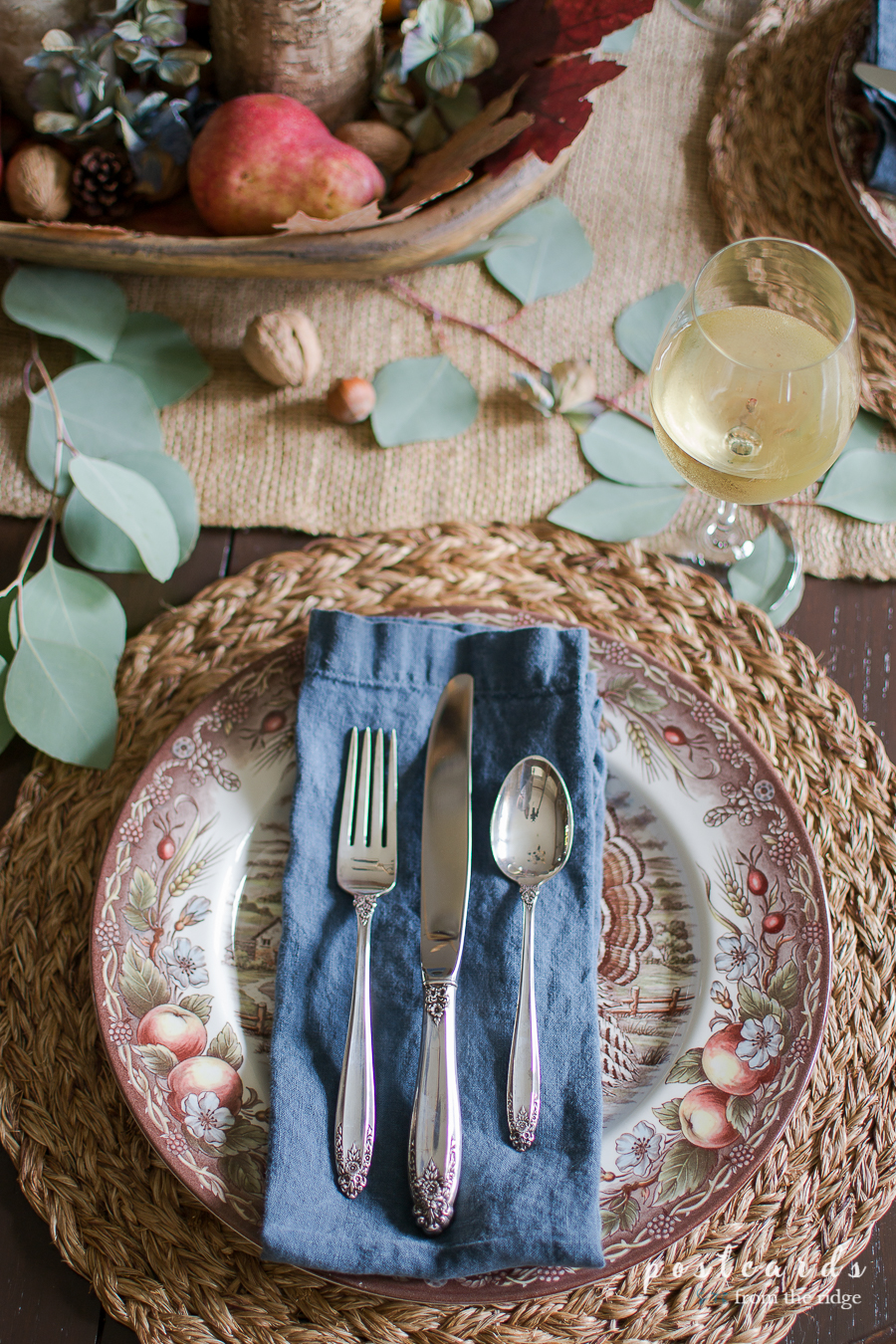 Thanksgiving place setting with vintage silver