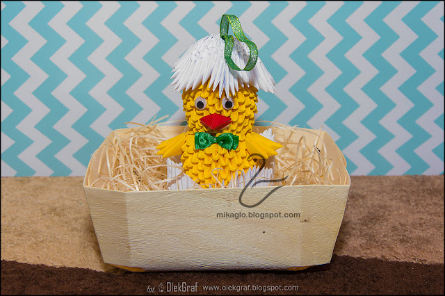 374. Kurczaczek w koszyczku / 3d origami baby chick
