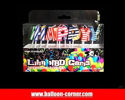 Lilin Ultah Motif HAPPY BIRTHDAY Garis