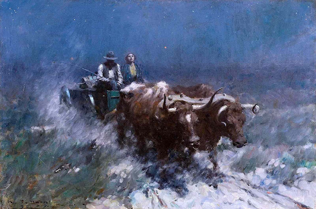 a Harvey T. Dunn illustration of a couple on oxcart at night