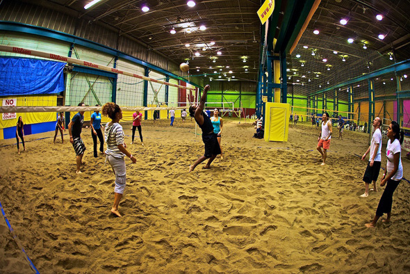 Sq Ft Indoor And Outdoor Beach Volleyball Arena The Was A Mive Warehouse That Well Lit Substantially Sanded With Vertically