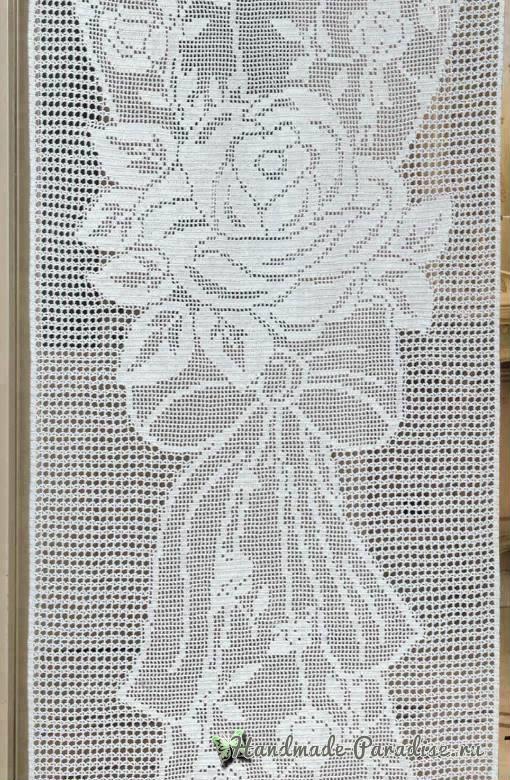 Филейная штора с розами крючком (6)