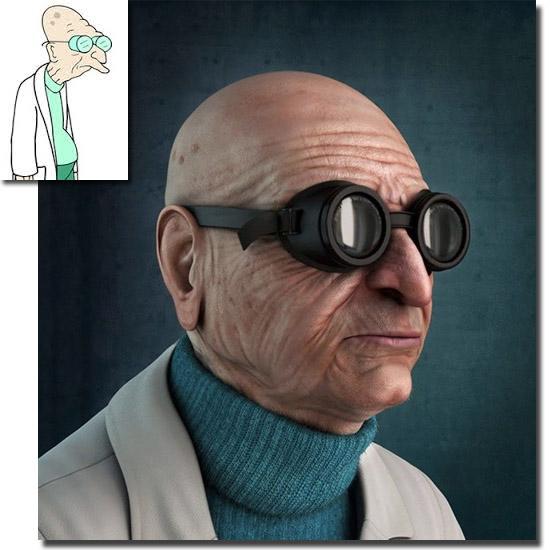 Personagens de desenhos como se fossem de carne e osso - Professor Hubert J. Farnsworth