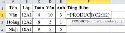 tinhoccoban.net - Hàm Product trong Excel