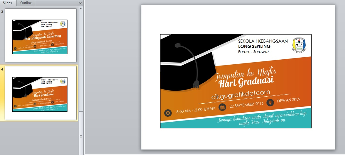 Kad Jemputan Hari Anugerah Cemerlang Graduasi V2 Koleksi Grafik Untuk Guru