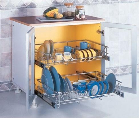 Rak Piring Minimalis berbahan kaca untuk dapur modern