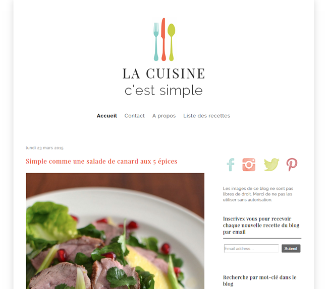 Design  - Modification Blogger  - La cuisine c'est simple