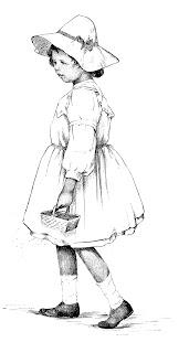 girl illustration drawing digital download antique image