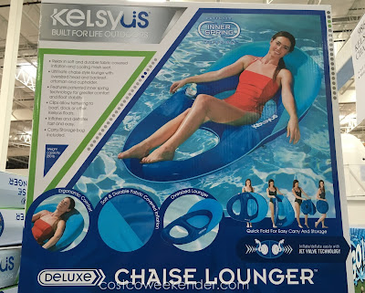 Lounge around in the pool with the Kelsyus Deluxe Chaise Lounger