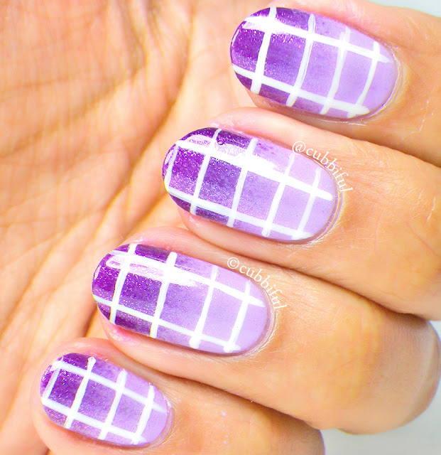 Violet Gradient and Grid Nails