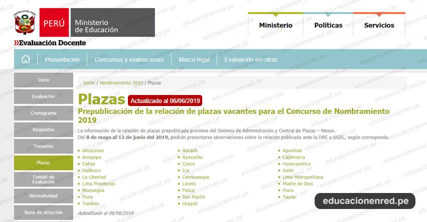 MINEDU: Plazas Nombramiento Docente 2019 [PREPUBLICACIÓN ACTUALIZADO 6 JUNIO] www.minedu.gob.pe