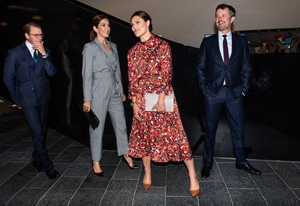 Crown Princess Mary wore a Max Mara jumpsuit. Crown Princess Victoria wore a floral print dress by Dagmar