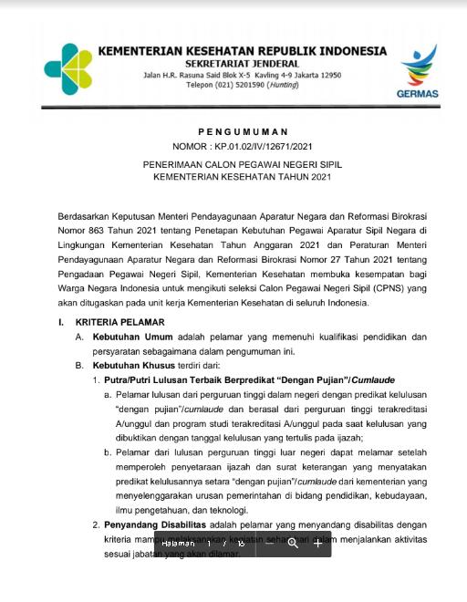 Pendaftaran CPNS Kementerian Kesehatan Tahun Anggaran 2021