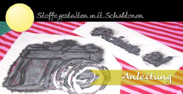 Schablone selbstmachen und mit Textilfarben auf Stoff schablonieren