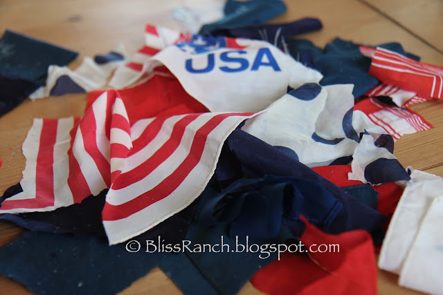 Pool Noodle Patriotic Door Wreath Made From Hankies, Bliss-Ranch.com