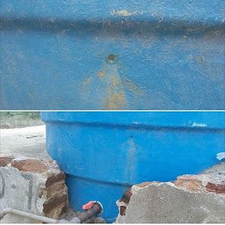 Vândalo perfura caixa d'água instalada recentemente no Lagedo Grande, zona rural de Picuí