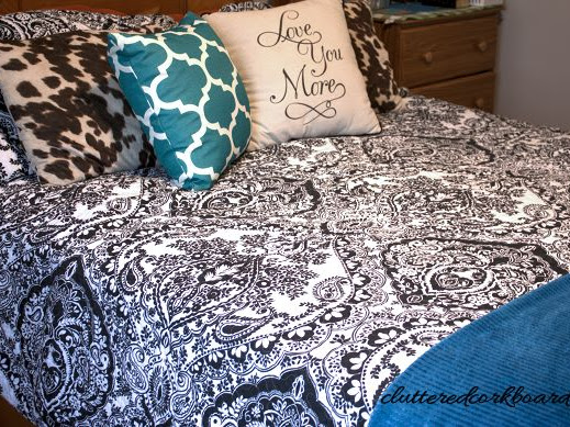 Bedroom Update Bedding in Black and White