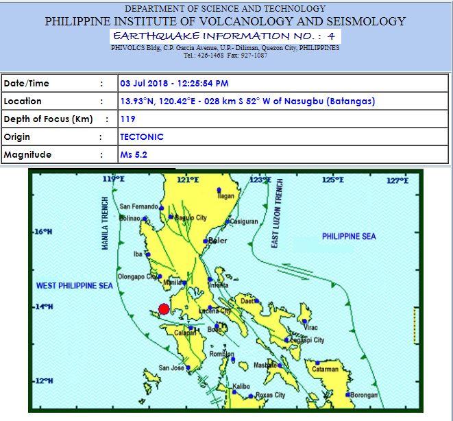 Magnitude 5.2 earthquake jolts Nasugbu, Batangas