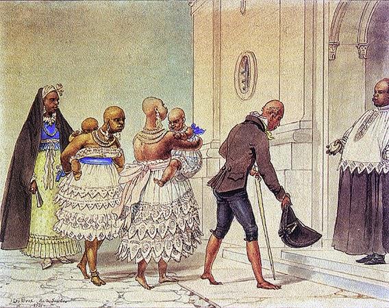 Jovens Negras Indo à Igreja para Serem Batizadas - Debret, Jean-Baptiste  ~ Pinturas do Brasil colonial