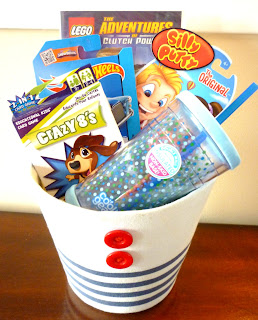 gift basket, boy, birthday present, christmas present, present, card game, silly putty, drink cup, lego, lego movie, hot wheels