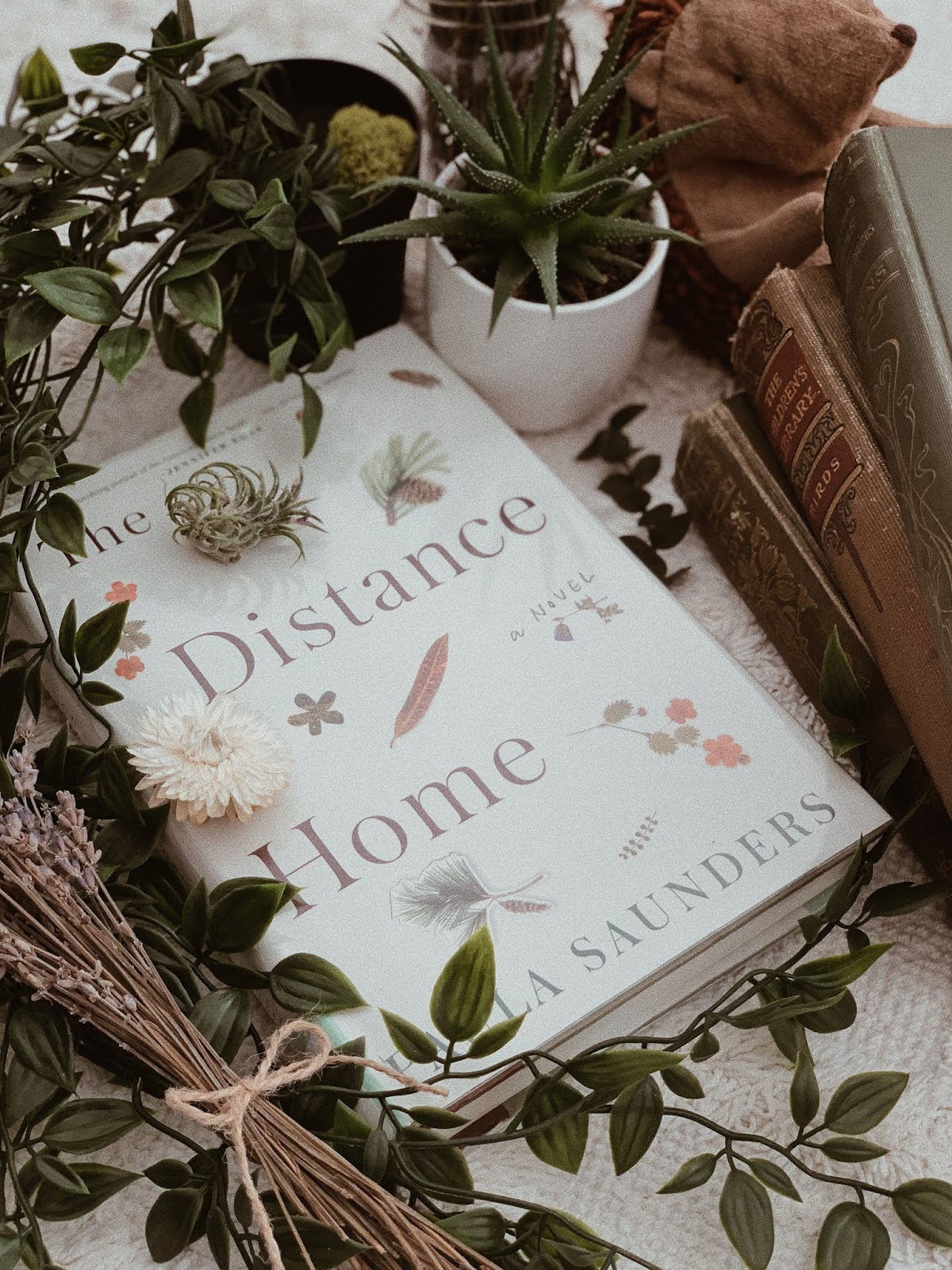flatlay of the distance home by paula saunders - book review | book book chick
