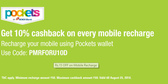 ICICI Pockets Mobile Recharge Offer: Get 10% Up to Rs.50 Cashback on Recharge