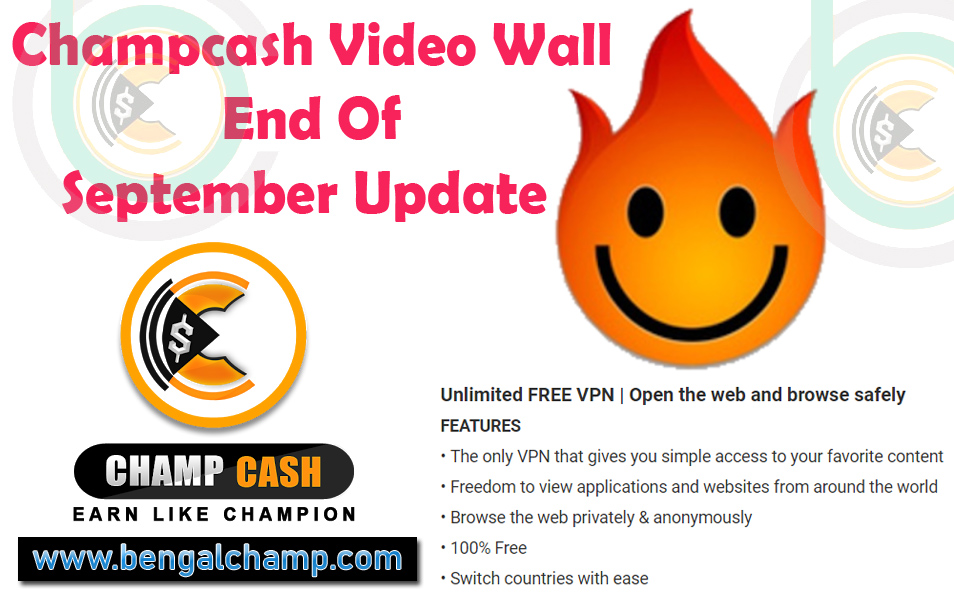 Champcash Video Wall Update - End Of September 2018