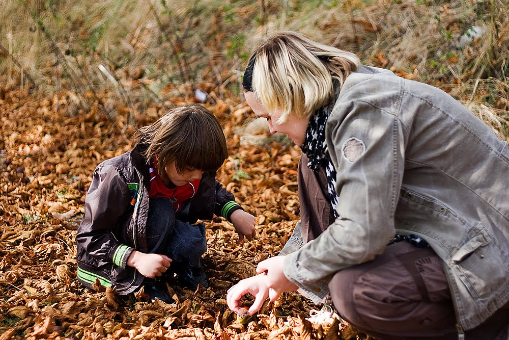 Zoe & Toby picking through the leaf litter