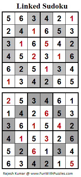 Linked Sudoku (Mini Sudoku Series #75) Solution