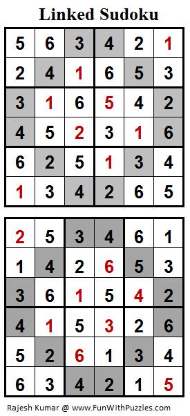 Linked Sudoku (Mini Sudoku Series #75) Solution