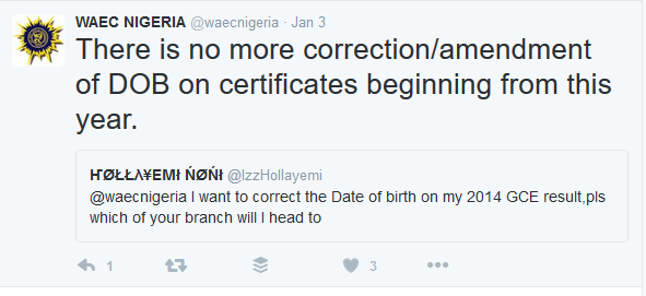WAEC Date Of Birth [D.O.B] Correction/Amendment Process Cancelled