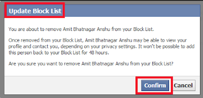 How to remove a blocked person on facebook