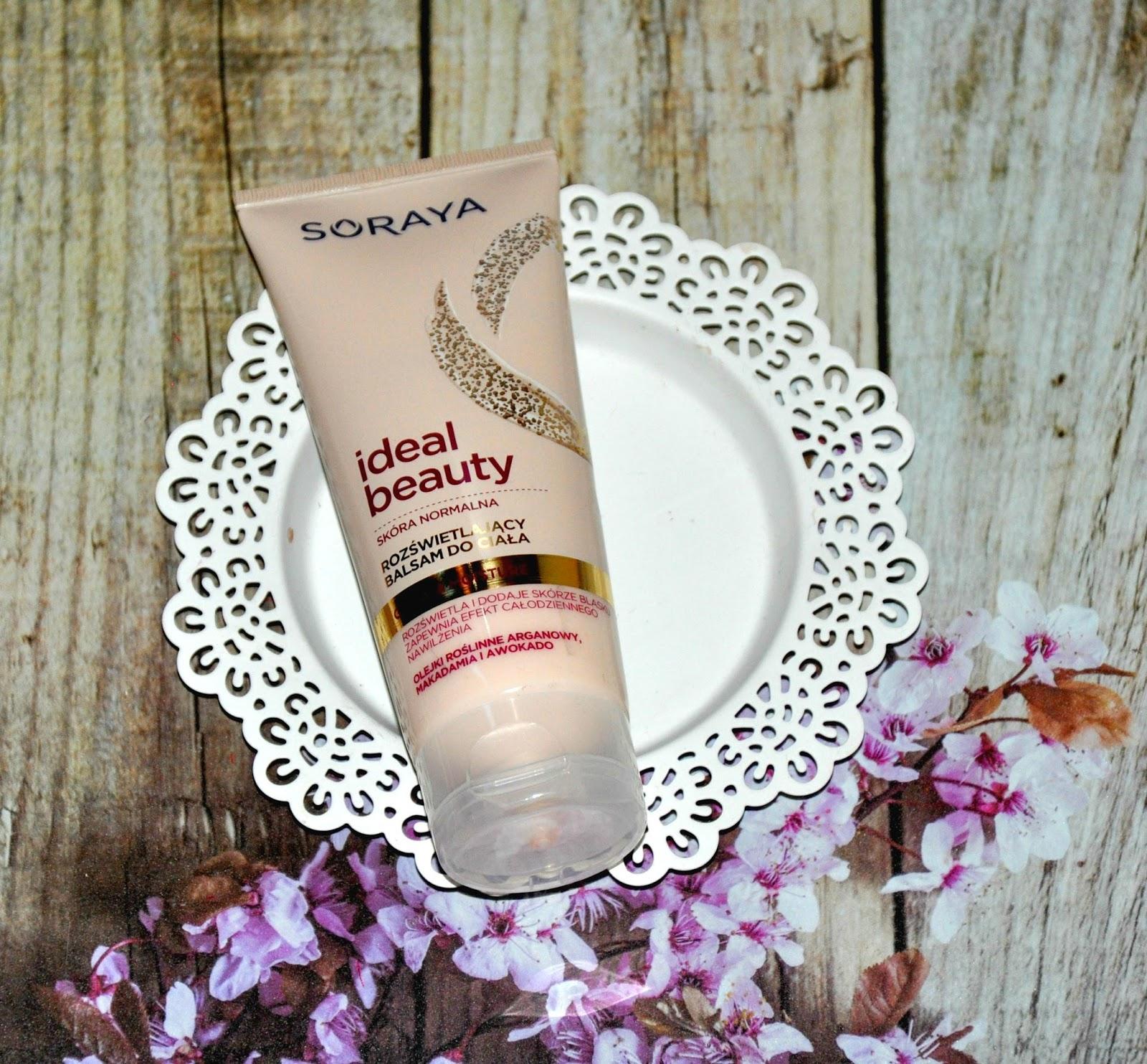 2. Soraya, Ideal Beauty, balsam do ciała, rozświetlajacy Rozświetla i dodaje skórze blasku zapewnia efekt całodziennego nawilżenia. Balsam Soraya IDEAL BEAUTY już od pierwszego użycia zapewni Twojej skórze piękny wygląd i świetliste wykończenie