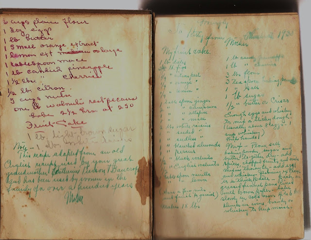 Handwritten recipe for Fruitcake on frontispiece of 1938 cookbook