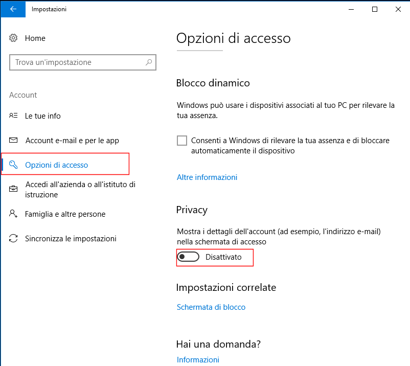 Windows 10, Opzioni di accesso - Mostra i dettagli dell'account nella schermata di accesso