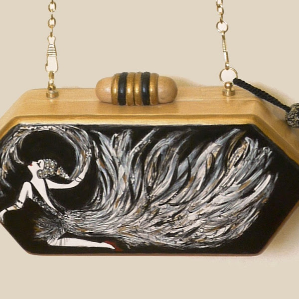 Art Deco Hand Painted Wooden Evening Bag