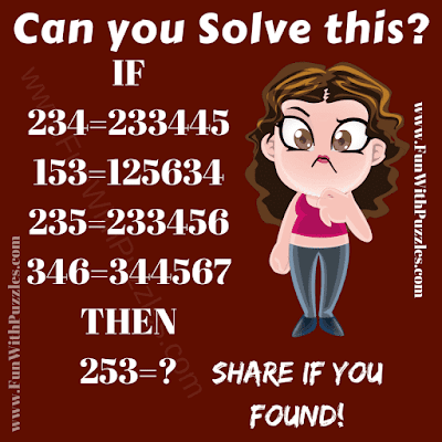 It is logical Math Problem for school going teens in which you have to solve the given logical number equations.