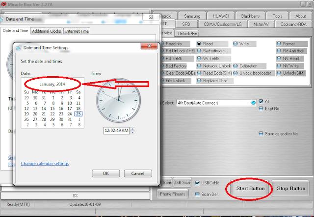 Cara memunculkan start button hilang di miracle box 2.27A crack