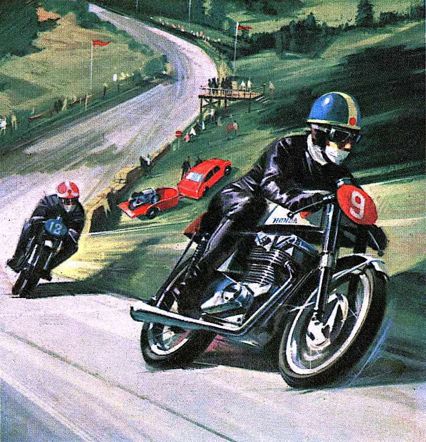 a 1968 box illustration for a toy or model motorcycle