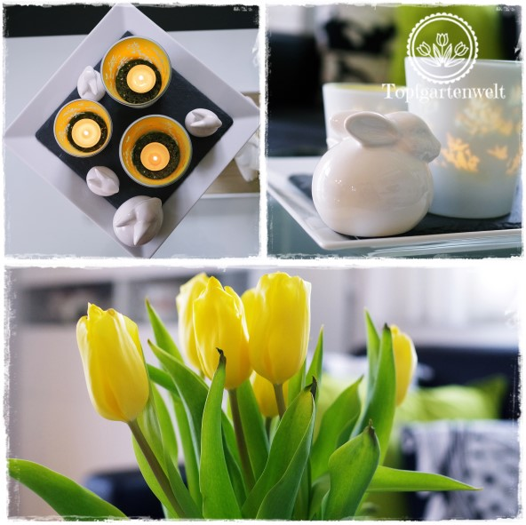 Gartenblog Topfgartenwelt Deko: weiße Porzellanhasen kombiniert mit frühlingshaften Windlichtern und einem gelben Tulpenstrauss