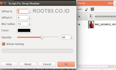 pengaturan untuk efek drop shadow