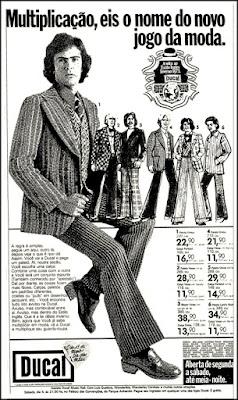 moda masculina anos 70, Ducal, moda anos 70; propaganda anos 70; história da década de 70; reclames anos 70; brazil in the 70s; Oswaldo Hernandez