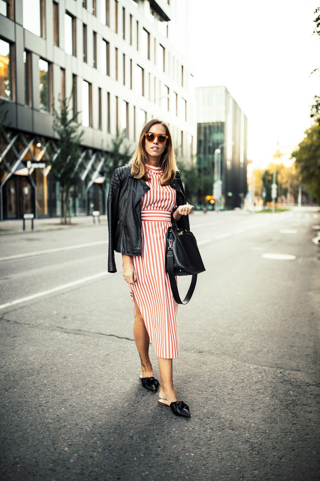 red striped midi dress leather jacket street style