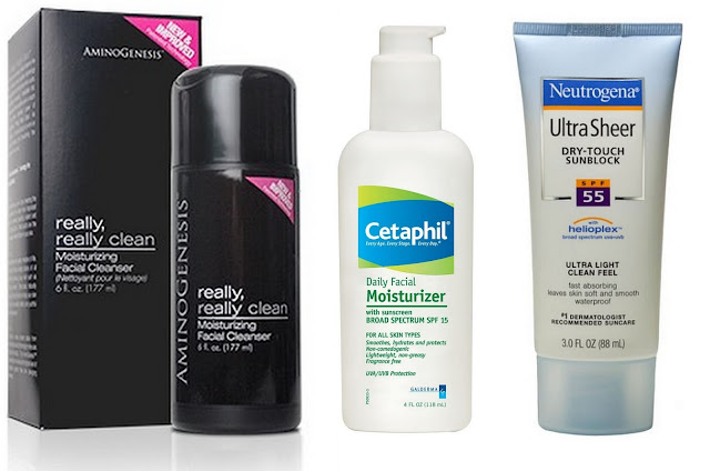 AminoGenesis Really Really clean, Cetaphil Daily Moisturizer, Neutrogena Ultrasheer sunblock