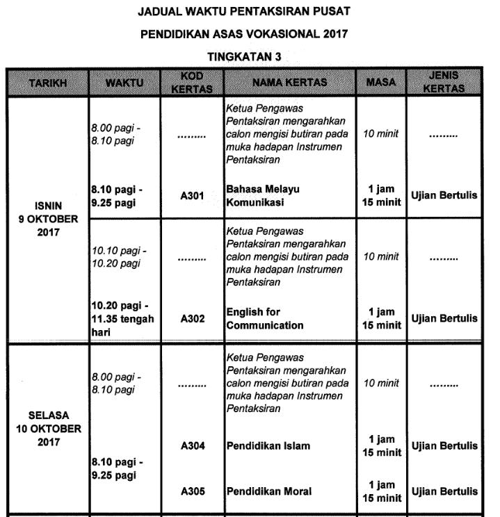 jadual pav 9 dan 10 oktober 2017