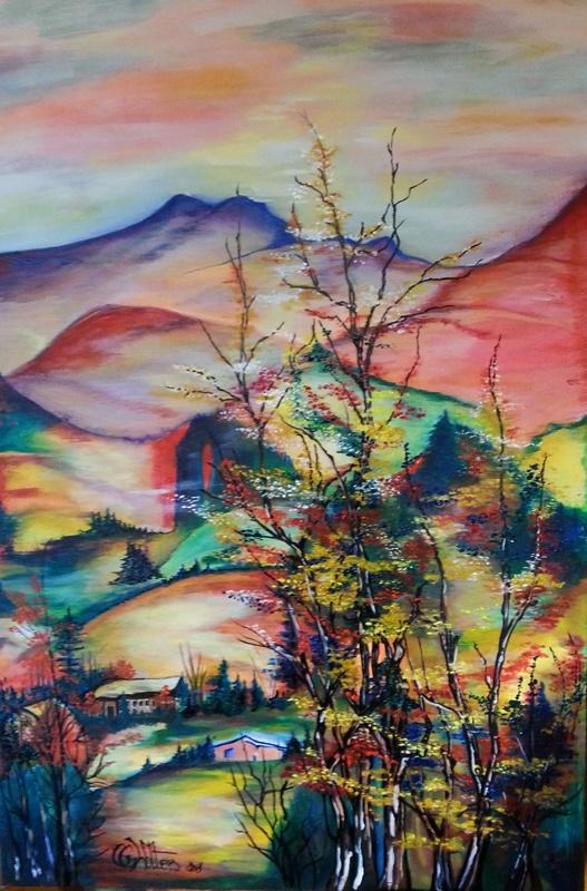 krajobraz farbami olejnymi