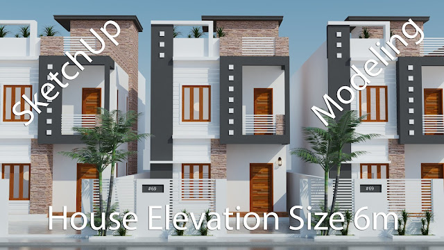 Elevation Modern House Plan 6x12m With 3 Bedrooms